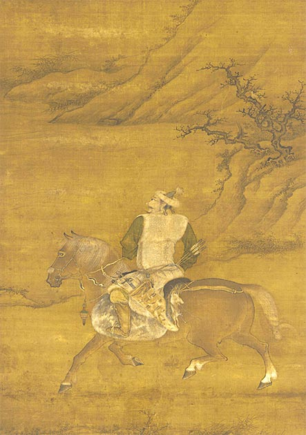 A Jurchen man hunting from his horse, 15th century painting on silk. (Andres rojas22~commonswiki / Public Domain)