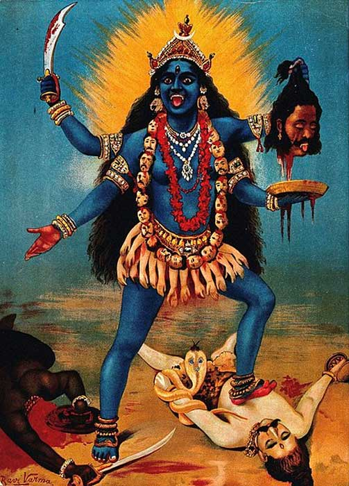 Kali trampling Shiva. Chromolithograph by R. Varma. (Public Domain)