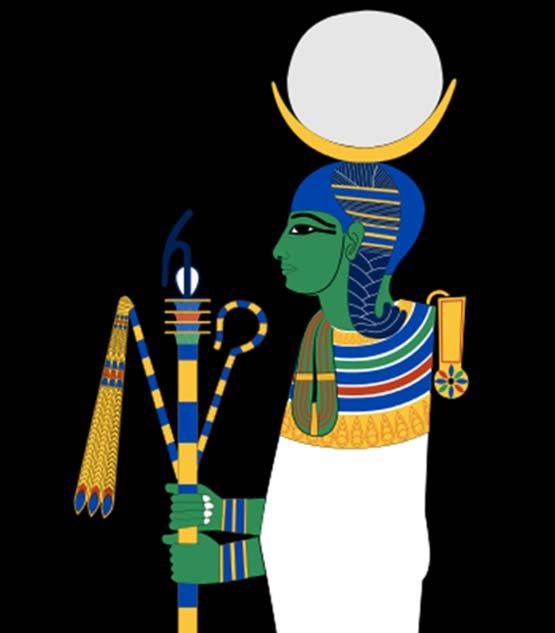 Khonsu, an ancient Egyptian god depicted as a mummiform child with a moon disk on his head.