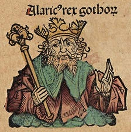 King Alaric. Illustration from the Nuremberg Chronicle (1493)(Public Domain)