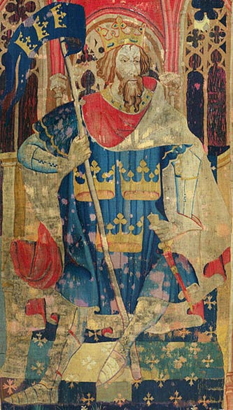 "King Arthur as one of the Nine Worthies, detail from the ""Christian Heroes Tapestry"" dated c. 1385."