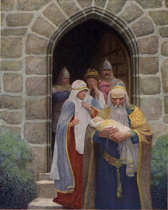 An illustration by N. C. Wyeth for The Boy's King Arthur (1922)