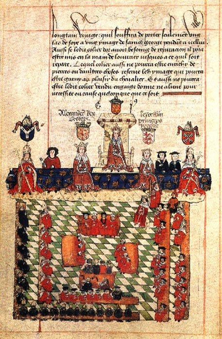 16th-century illustration of King Edward I presiding over Parliament. The scene depicts Alexander III of Scotland and Llywelyn ap Gruffudd of Wales beside Edward; an episode that never actually occurred.