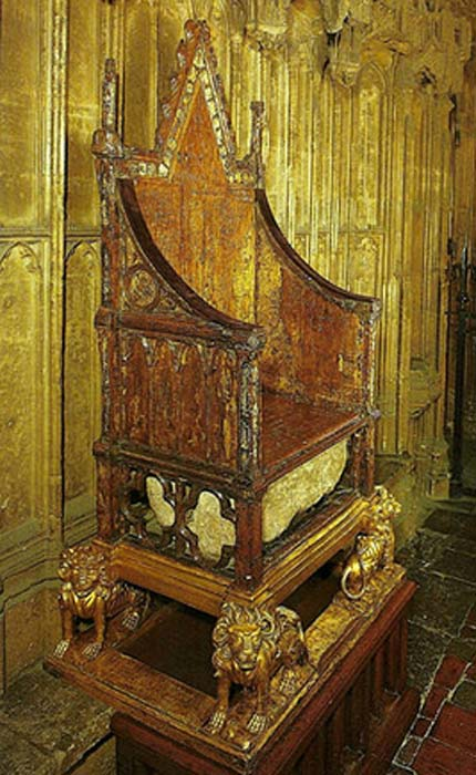 King Edward's Chair, also known as the Coronation Chair, with the Stone of Scone.
