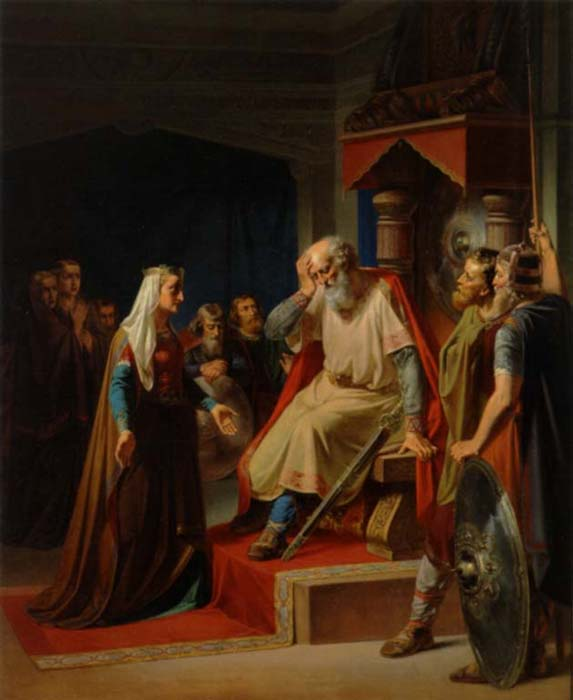 King Gorm the Old receives the news of the death of his son Canute.