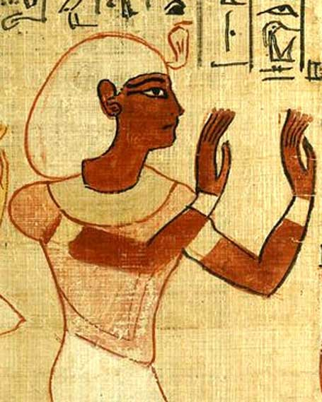 King Herihor worships Osiris, the god of the netherworld, in this portion of the joint Book of the Dead prepared for him and his wife Queen Nodjment. However, the couple was not buried together. British Museum.