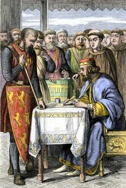 King John of England signing Magna Carta on June 15, 1215, at Runnymede; colored wood engraving, 19th century. (Public Domain)
