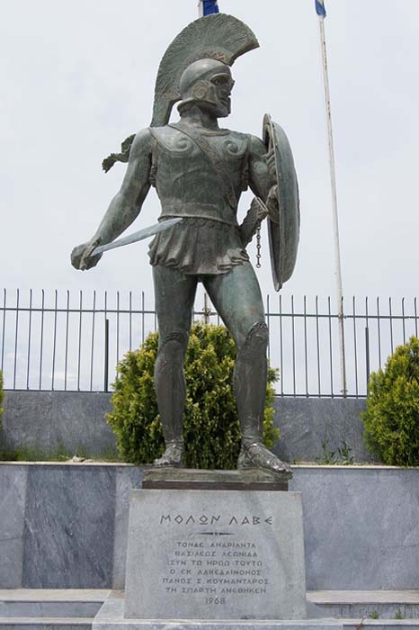 Statue in modern Sparta to commemorate King Leonidas I