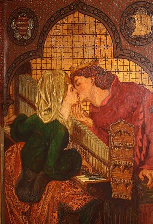 Gabinete de luna de miel del rey René.  René y Jeanne.  Este panel muestra la representación diseñada Dante Rossetti Gabrielle de Música (amantes besándose en un clavecín).