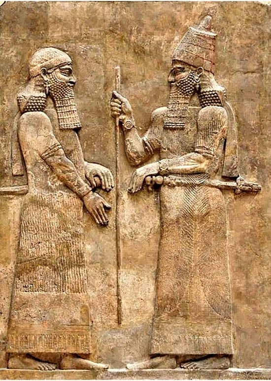 King Sargon II (right) and a high dignitary. Phrygian King Midas is believed to have been both an enemy and a friend to Sargon II.