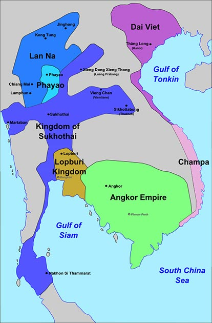 Approximate extent of Kingdom of Sukhothai's zone of influence, late 13th century. (Nicolas Eynaud / CC BY-SA 4.0)