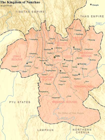 Kingdom of Nanzhao as of 879 AD. (SY / CC BY-SA 4.0)