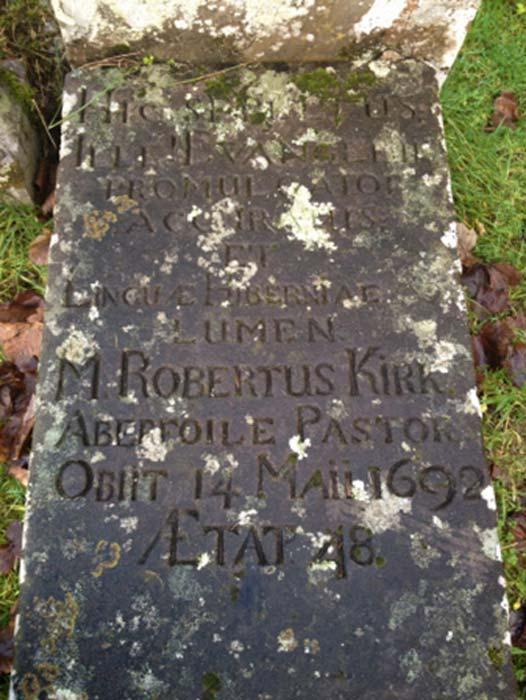 Robert Kirk's gravestone at Aberfoyle, Scotland (Via author)