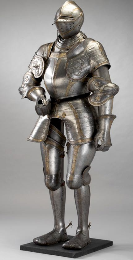 Knight armor also used plates to cover the limbs