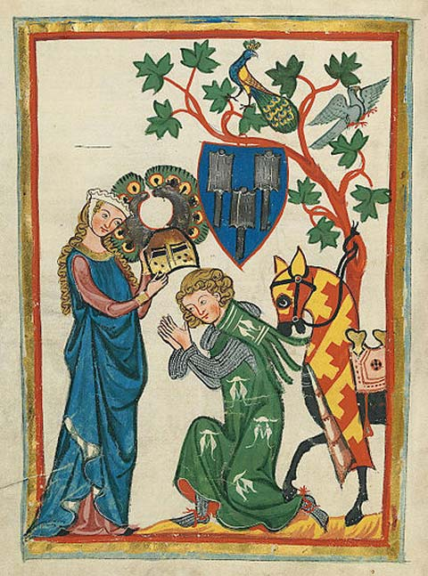 Konrad von Limpurg as a knight being armed by his lady in the Codex Manesse (early 14th century). (Public Domain)