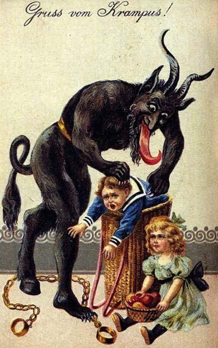 According to tradition, Krampus devours naughty children.