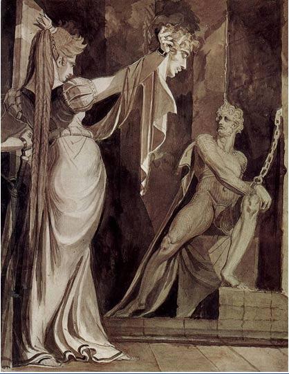Kriemhild showing Gunther's head to Hagen (Johann Heinrich Füssli, ca. 1805)