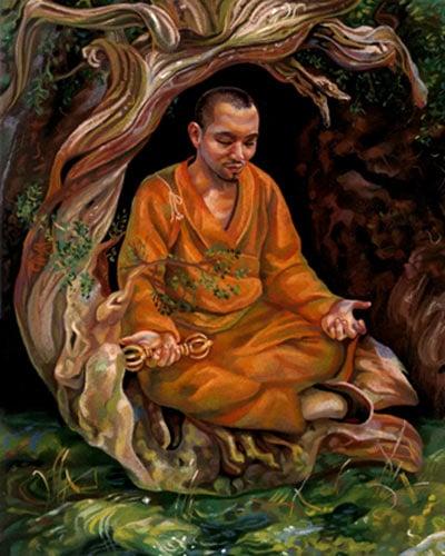 Kukai meditating to his death on Mount Koya