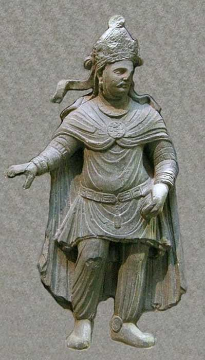 Kushan king or prince, 2nd or 3rd century AD. This is an example of Greco-Buddhist art.