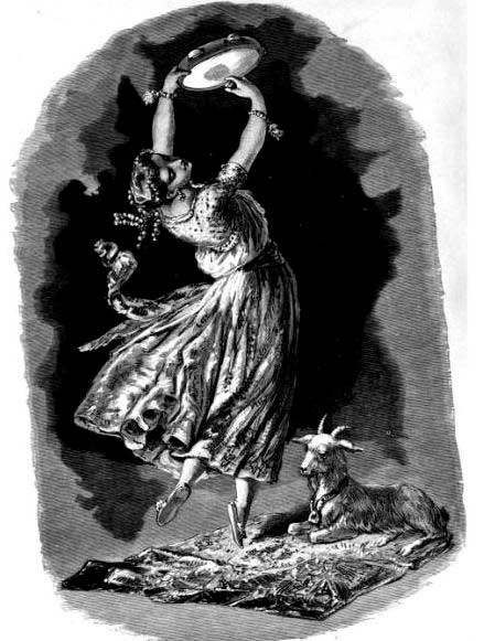 "La Esmeralda. Illustration for Notre Dame de Paris by Victor Hugo. Artist unknown. Appears in ""Victor Hugo and His Time"" by Alfred Barbou. 1882. (Public Domain)"