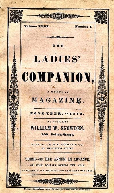 Copy of the publication Ladies Companion for November 1842 in which Poe published one of the three instalments of his story based on Mary's murder.