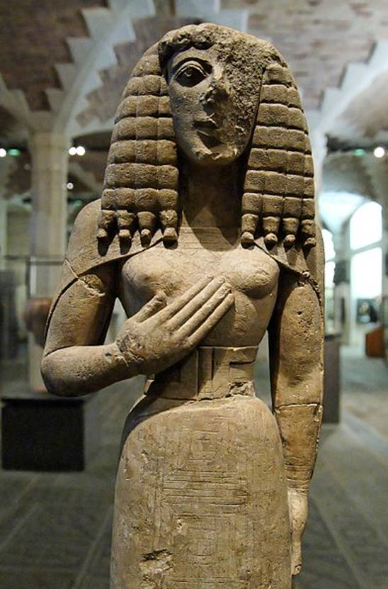So-called Lady of Auxerre, a female statuette in the Daedalic style. Limestone with incised decoration, formerly painted, ca. 640–630 BC, made in Crete?