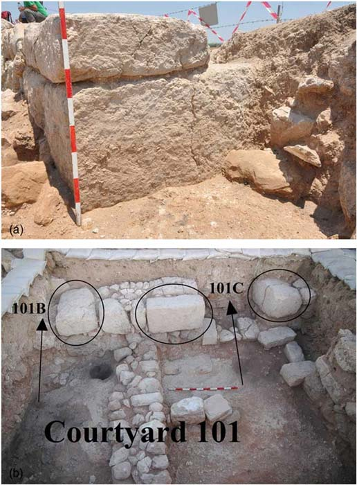 Large stones found at the entrance to the building and its rooms. Image: Radiocarbon CC BY-SA 4.0