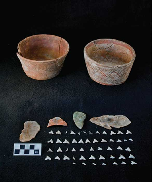 Late Classic (c. AD 650–750) cache from El Zotz, Petén, Guatemala, showing two polychrome vessels, two muscovite mica plates, a carved greenstone figurine, a Spondylus shell pendant and the upper teeth of a requiem shark, probably all from a single individual. Photograph by Stephen Houston.