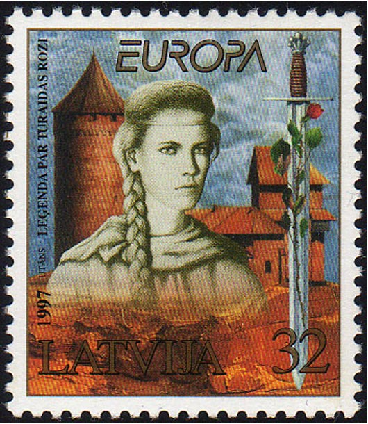 Latvian postage stamp depicting the Rose of Turaida