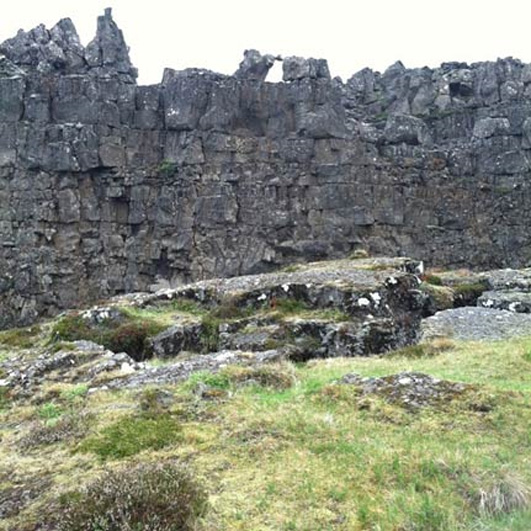The Lögberg, or Law Rock, at Þingvellir National Park, Iceland.
