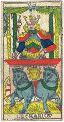 Le Chariot, from Nicolas Conver's 1760 Tarot deck.