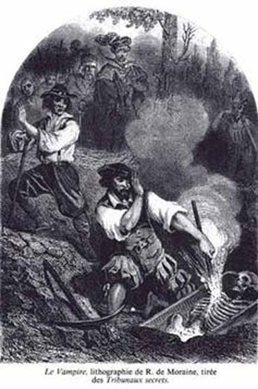 Le Vampire, lithograph by R. de Moraine, Les Tribunaux secrets (1864)