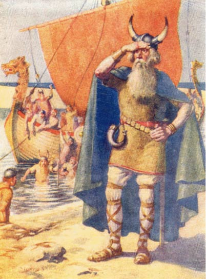 Leif Ericson on the shore of newly discovered Vinland