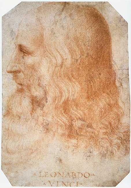 Portrait of Leonardo da Vinci.
