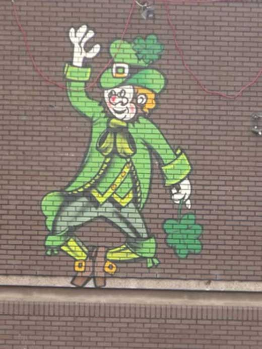 Leprechaun street art in Irish Quarter, Birmingham, UK