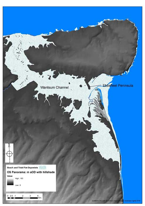 Lidar model of topography of Thanet showing Ebbsfleet. (Image: Courtesy of University of Leicester)