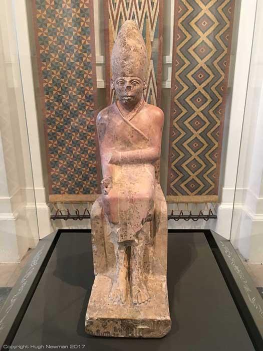 Limestone statue of Khasekhemui at the Ashmolean Museum in Oxford.  Photo by Hugh Newman.