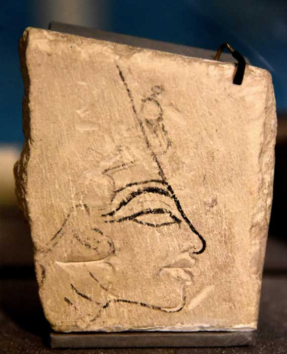 Limestone trial piece showing the head of Nefertiti. This drawing of the Queen, with the lips cut out, was found in the 1890s in Amarna. It shares the iconic features of the Berlin bust. Petrie Museum, London. (Photo: Osama Shukir Muhammed Amin FRCP(Glasg))