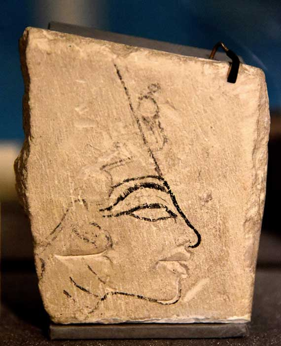Limestone trial piece showing the head of Nefertiti. This drawing of the Queen, with the lips cut out, was found in the 1890s in Amarna. It shares the iconic features of the Berlin bust. Petrie Museum, London. (Photo: Osama Shukir Muhammed Amin FRCP(Glasg)/CC BY SA 4.0)