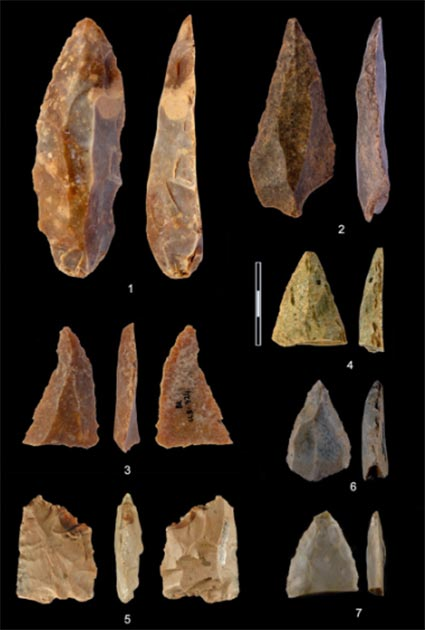 Lithic artifacts found in Bacho Kiro cave. (Hublin et al. 2020)