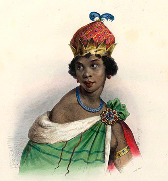 Lithograph of Queen Njinga (public domain)