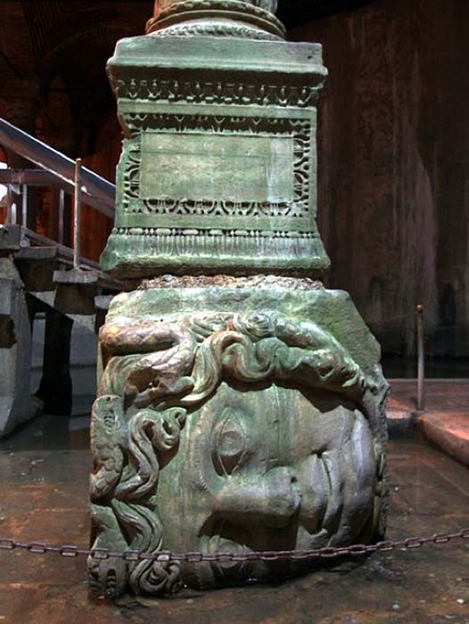 Located in the northwest corner of the cistern, the bases of two columns reuse blocks carved with the visage of Medusa. The origin of the two heads is currently unknown. (Mark Ahsmann/CC BY SA 3.0)