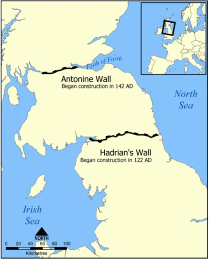 Location of Hadrian's Wall