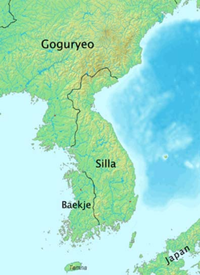 Location of Silla on the Korean peninsula