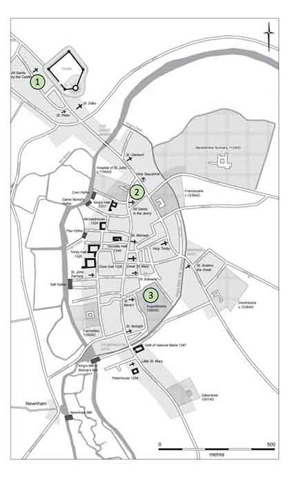The locations of the three cemeteries used in the Cambridge broken bone study: 1. The All Saints by the Castle Parish. 2. The Hospital of St. John the Evangelist. 3. The Augustinian Friary of Cambridge (University of Cambridge)