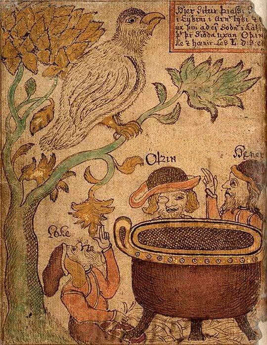 Loki, Odin, and Hoenir try to cook, but Þjazi stops them. (Public Domain)