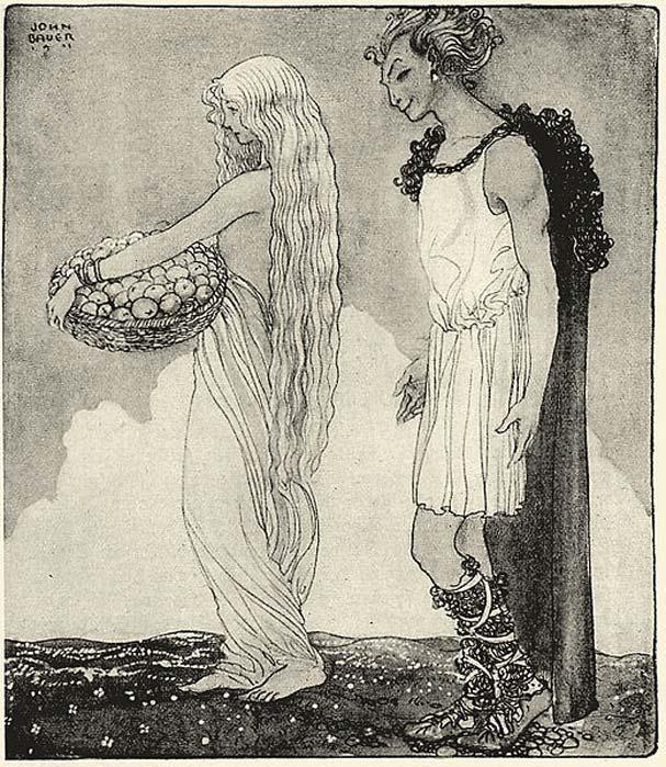 Loki and Idunn. (Public Domain)