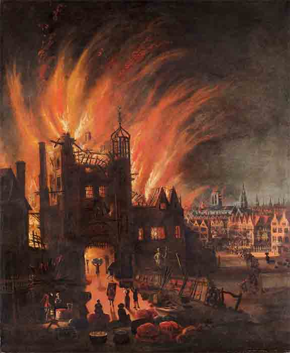 London's Ludgate in flames with the square towers and spire of St Paul's Cathedral catching fire in the distance. Oil painting by anonymous artist, ca. 1670. Paul Mellon Collection in the Yale Center for British Art. (Public Domain)