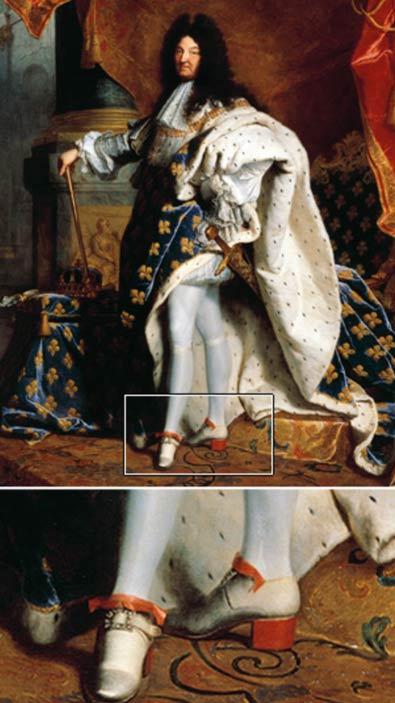 Louis XIV wearing his trademark heels