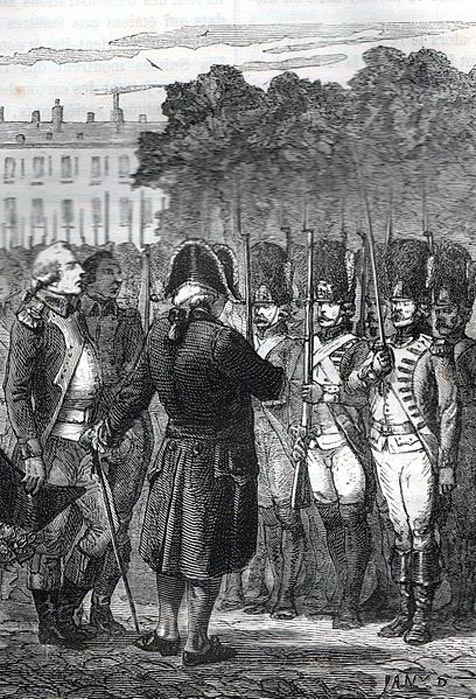 Louis XVI inspecting troops.